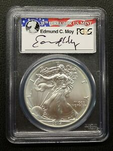 2014 AMERICAN SILVER EAGLE PCGS MS69 EDMUND C. MOY SIGNED LABEL.