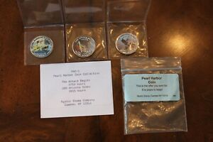 LOT OF 3 PEARL HARBOR COINS   MYSTIC STAMP