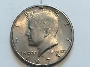 1973 D KENNEDY HALF DOLLAR ERROR COIN REVERSE DOUBLING IN DOLLAR AND AMERICA