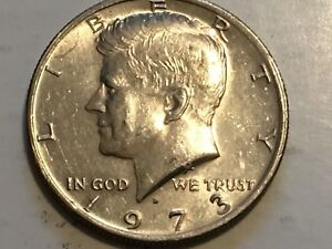 1973 D KENNEDY ERROR COIN REVERSE DOUBLING STATES OF AMERICA HALF DOLLAR WING