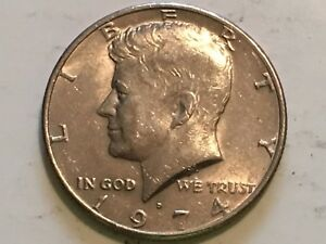 1974 D KENNEDY OBVERSE PROFILE DOUBLING ERROR COIN IN LIPS AND EYE