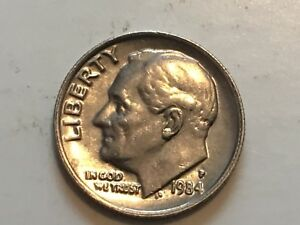 1984 P ROOSEVELT DIME OBVERSE AND REVERSE COLLAR ERROR COIN.