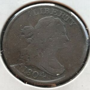 1804 DRAPED BUST HALF CENT 1/2 CENT CUD ON REV. SPIKED CHIN BETTER GRADE 2400