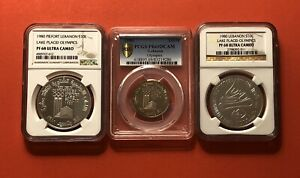 Click now to see the BUY IT NOW Price! 1980 LEBANON 3 PROOF COINS  1L. 10L.&10L PIEFORT NGC&PCGS GRADED PF68 69.