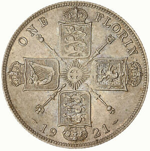 RAW 1921 ENGLAND 1 FLORIN UNCERTIFIED UNGRADED