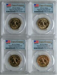 Click now to see the BUY IT NOW Price! 2019 P D A B  PCGS MS66  4  COIN SET NJ EDISON LIGHT BULB INNOVATION DOLLAR FS