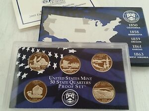 2005 UNITED STATES MINT 50 STATE QUARTERS PROOF SET   CA MN OR KS WV   5 COIN