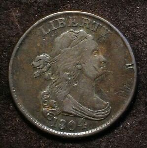 1804 DRAPED BUST HALF CENT SPIKED CHIN U.S. 1/2 COPPER PENNY C 6 REVERSE CUD