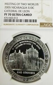 Click now to see the BUY IT NOW Price! 2005 NICARAGUA S10C CATHEDRAL DE LEON NGC PF 70 ULTRA CAMEO PERFECTION FINEST