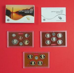 2015 S US MINT PROOF SET 14 COINS PRESIDENTIAL DOLLARS STATE QUARTERS W/BOX COA
