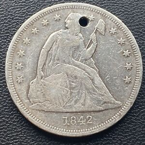 1842 SEATED LIBERTY DOLLAR ONE DOLLAR $1 VF   XF DETAILS  23742
