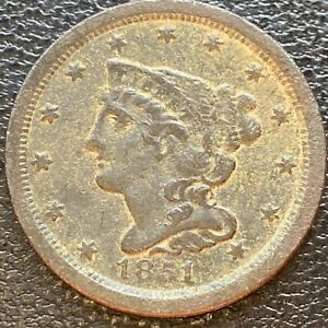 1851 BRAIDED HAIR HALF CENT 1/2 CENT HIGHER GRADE XF DETAILS 23931