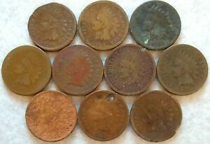 LOT OF 10  1880 1889 INDIAN HEAD CENT MIXED/ASSORTED DATES $$  XX