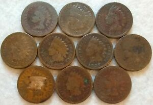 LOT OF 10  1880 1889 INDIAN HEAD CENT MIXED/ASSORTED DATES $$  77