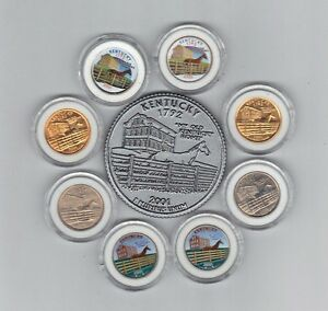 KENTUCKY LOVERS I HAVE 8 DIFFERENT 2001 STATE COINS IN P & D  REFER MAGNET COIN