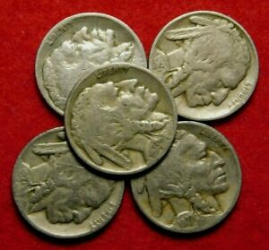 5 COIN BUFFALO NICKEL LOT 1927 P 1/8 ROLL 20001927 P