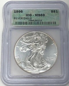 1996 AMERICAN SILVER EAGLE $1 ICG MS 69 MINT STATE 69   10TH YEAR ANNIVERSARY