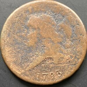 1793 LIBERTY CAP HALF CENT 1/2 CENT  CIRCULATED MANY DETAILS VISIBLE 22544
