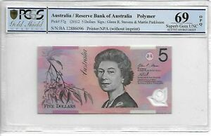 Click now to see the BUY IT NOW Price! 2012 AUSTRALIA SPECIAL PREFIX $5 POLYMER BANKNOTE HIGHEST PCGS69 SUPERB GEM UNC