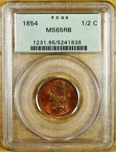 Click now to see the BUY IT NOW Price! 1854 PCGS MS65 RB HALF CENT   OLD GREEN HOLDER