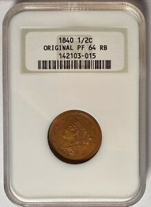 Click now to see the BUY IT NOW Price! 1840 PROOF HALF CENT 1/2C ORIGINAL NGC OLD HOLDER PF64RB  MINTAGE ONLY 18
