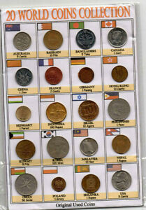 LOT 20PCS DIFFERENT COUNTRIES ASIA EUROPE USA GULF OLD AUNC WORLD COINS DETAILS