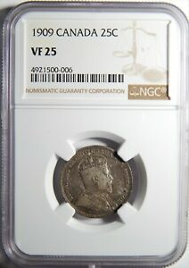 1909 CANADA SILVER 25 CENTS NGC VF 25 25C