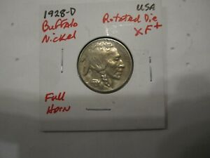 EXTRA FINE 1928 D BUFFALO NICKEL WITH ROTATED DIE