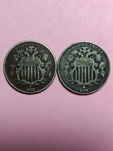 LOT OF  2  SHIELD NICKELS  1868 1872