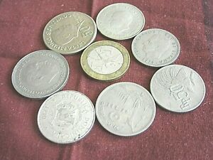 LOT OF 8 EIGHT   WORLD COINS   ASSORTED .  NICE LOT       N.9/14