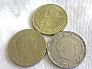 LOT OF 3 WORLD COINS ESPANA 1957  CHILE  1964 & ITALY 1979    ..7.8/63