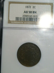 1872 TWO CENT 2C PIECE NGC AU50   KEY   LOWEST BUSINESS STRIKE MINTAGE IN SERIES