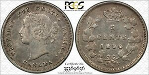 1890 H CANADA 5 CENTS PCGS XF 40 DOUBLED & BROKEN LETTERS 5C