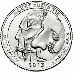 2013 ATB MOUNT RUSHMORE NATIONAL PARK QUARTER P&D SET FROM MINT ROLLS