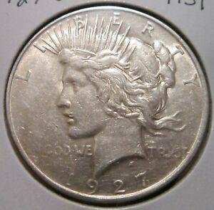 1927 D PEACE SILVER DOLLAR BETTER DATE US SILVER COIN WITH GREAT DETAILS
