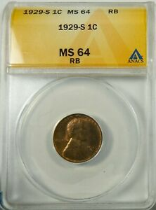 1929 S LINCOLN  CENT ANACS MS64 RB