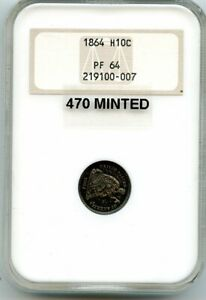 C12437  1864 PROOF SEATED LIBERTY HALF DIME NGC PR64 FATTY HOLDER   470 MINTED