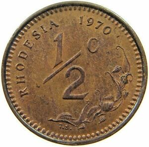 RHODESIA 1/2 CENT 1970 OR 1971 OR 1972 OR 1975  DATE 1 COIN MONEY ZIMBABWE