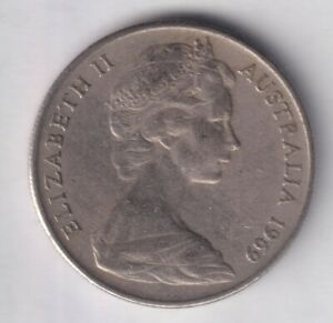 1969 AUSTRALIAN 10 CENT COIN   LOW MINTAGE   KEY DATE    1