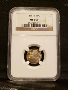 1951 S ROOSEVELT DIME MS66 STAR NGC  10 CENTS  647