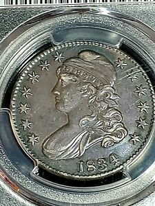 1834 50 CENT CAPPED BUST PCGS GENUINE CLEANED AU DETAIL LG.DATE LARGE LETTERS