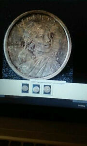 Click now to see the BUY IT NOW Price! 2000 P SACAGAWEA DOLLAR TWO FACED SAC. DOLLAR 3 EYES 2 NOSES AND 2 MOUTHS WOODGR