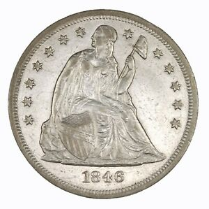 RAW 1846 SEATED LIBERTY $1 UNCERTIFIED UNGRADED US MINT SILVER DOLLAR COIN
