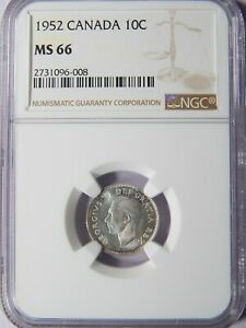 Click now to see the BUY IT NOW Price! 1952 CANADA TEN CENTS DOUBLE 19 NGC MS 66 10C