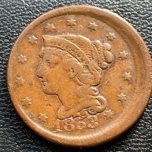 1853 LARGE CENT BRAIDED HAIR ERROR   OFF CENTER   MISALIGNED DIES    25977