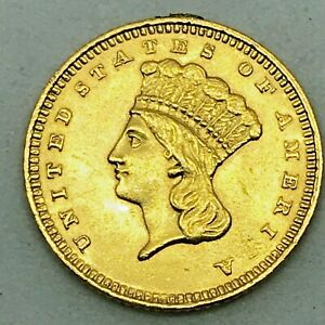 1861 GOLD DOLLAR   TYPE 3 G$1  EXCELLENT CONDITION   LOOP REMOVED    COIN
