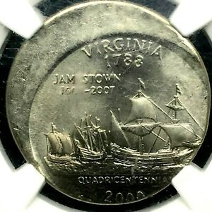 2000 P 25C  VIRGINIA STRUCK 20  OFF CENTER MINT ERROR NGC UNCIRCULATED DETAILS.