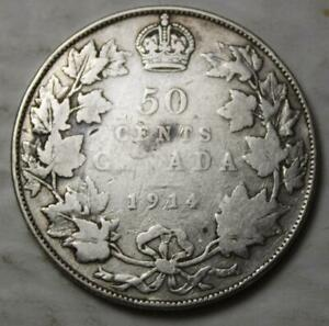 CANADA 1914 SILVER 50 CENTS BETTER OLD DATE KGV