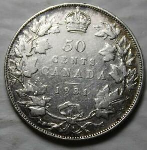 CANADA 1931 SILVER 50 CENTS BETTER OLD DATE KGV