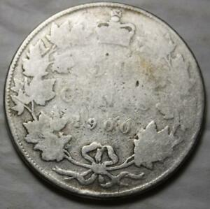 CANADA 1900 SILVER 50 CENTS OLD DATE QUEEN VICTORIA